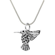 Buy Nina B Cubic Zirconia Hummingbird Pendant Necklace, Silver Online at johnlewis.com