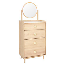 Buy Bethan Gray for John Lewis Genevieve 4 Drawer Tall Boy Chest with Mirror, Oak Online at johnlewis.com