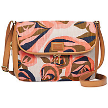 Buy Fossil Preston Leather Flapover Across Body, Rose Print Online at johnlewis.com