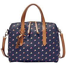 Buy Fossil Sydney Printed Hearts Satchel Bag, Navy Online at johnlewis.com