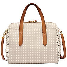 Buy Fossil Sydney Printed Satchel Bag, Grey / Cream Online at johnlewis.com