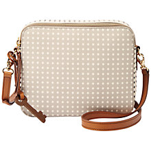 Buy Fossil Syndey Across Body Bag, Grey / Cream Online at johnlewis.com