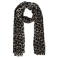 Buy Oasis Leopard Print Scarf, Pale Grey Online at johnlewis.com