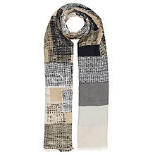 Buy John Lewis Abstract Squares Cotton Scarf, Beige/Multi Online at johnlewis.com