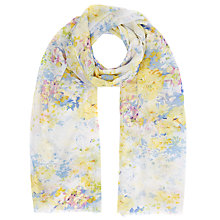 Buy John Lewis Flower Print Scarf, Yellow/Sky Blue Online at johnlewis.com