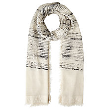 Buy John Lewis Textured Stripe Cotton Scarf, Ecru/Black Online at johnlewis.com
