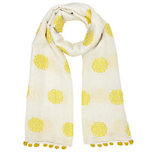 Buy John Lewis Sunshine Embroidery Pom Pom Scarf, Yellow/White Online at johnlewis.com