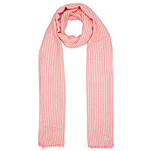 Buy John Lewis Textured Dot Stripe Scarf, Neon Pink Online at johnlewis.com