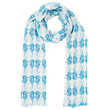 Buy John Lewis Sea Horses Print Scarf, Turquoise/White Online at johnlewis.com