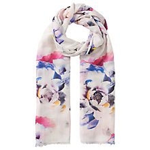 Buy John Lewis Pretty Floral Scarf, White/Multi Online at johnlewis.com