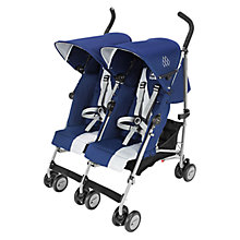 Buy Maclaren Twin Triumph Buggy, Blue/Silver Online at johnlewis.com