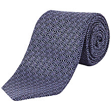 Buy Jaeger Silk Geometric Flower Tie, Blue Online at johnlewis.com