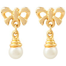 Buy Susan Caplan for John Lewis 1990s Gold Plated Faux Pearl Bow Drop Earrings, Gold Online at johnlewis.com