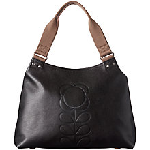 Buy Orla Kiely Textured Leather Zipped Shoulder Bag, Black Online at johnlewis.com