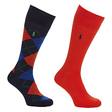 Buy Polo Ralph Lauren Argyle Socks, One Size, Pack of 2, Navy/Orange Online at johnlewis.com