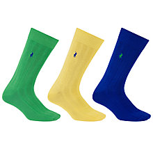 Buy Polo Ralph Lauren Combed Cotton Blend Ribbed Socks, One Size, Pack of 3, Blue/Yellow/Green Online at johnlewis.com
