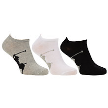 Buy Polo by Ralph Lauren Trainer Socks, One Size, Pack of 3, Grey/White/Black Online at johnlewis.com