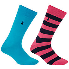Buy Polo Ralph Lauren Rugby Stripe and Plain Socks, Pack of 2, One Size, Blue/Pink Online at johnlewis.com