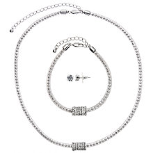 Buy John Lewis Ball and Glass Stone Pave Necklace, Bracelet and Stud Earrings Gift Set, Silver Online at johnlewis.com