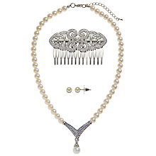 Buy John Lewis Glass Stone and Faux Pearl Necklace, Hair Slide and Stud Earrings Gift Set Online at johnlewis.com
