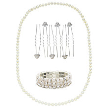 Buy John Lewis Faux Pearl and Cubic Zirconia Necklace, Stretch Bracelet and Hair Pins Gift Set, Silver/White Online at johnlewis.com