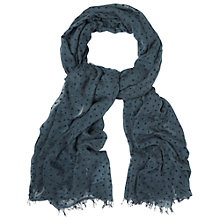 Buy White Stuff Flocked Heart Scarf, Blue Online at johnlewis.com