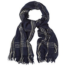 Buy White Stuff Check Scarf, Navy Online at johnlewis.com