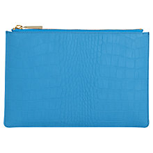 Buy Whistles Rivington Matte Croc Leather Chain Small Clutch, Blue Online at johnlewis.com