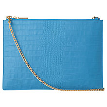 Buy Whistles Rivington Matte Croc Leather Chain Clutch, Blue Online at johnlewis.com