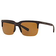Buy Dolce & Gabbana DG6097 Polarised Square Sunglasses, Brown Online at johnlewis.com