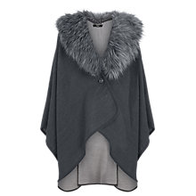 Buy Oasis Faux Fur Trim Wrap, Mid Grey Online at johnlewis.com