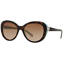 Buy Tiffany & Co TF4113 Full Frame Oval Sunglasses, Tortoise Online at johnlewis.com