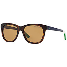 Buy Polo Ralph Lauren PH4105 Polarised Square Sunglasses, Tortoise Online at johnlewis.com