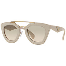 Buy Prada PR14SS Ornate Textured D-Frame Gradient Sunglasses, Beige Online at johnlewis.com