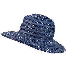 Buy Fat Face Straw amd Spot Ribbon Sun Hat, Navy Online at johnlewis.com