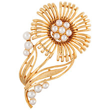 Buy Susan Caplan Vintage Bridal 1960s Lisner Gold Plated Faux Pearl Flower Brooch, Gold/Pearl Online at johnlewis.com