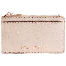 Buy Ted Baker Crosshatch Leather Metallic Leather Coin Purse, Rose Gold Online at johnlewis.com