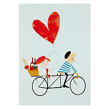 Buy Art File Ink Press Frenchman Tandem Bike Valentine's Day Card Online at johnlewis.com
