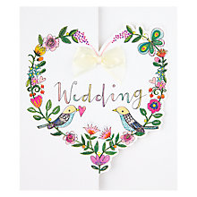 Buy Floral Heart with Bow Wedding Card Online at johnlewis.com
