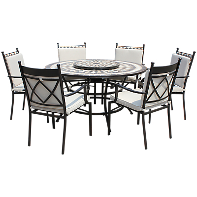 Leisuregrow Casablanca 6-Seater Round Dining Table & Chairs Set with Firepit & Lazy Susan