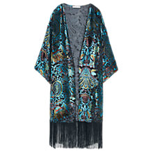 Buy Mango Silk Blend Fringed Caftan, Light Beige Online at johnlewis.com