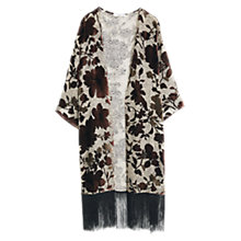 Buy Mango Silk-Blend Fringed Kaftan, Grey/Multi Online at johnlewis.com