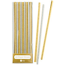 Buy Talking Tables Metallic Gold & Silver Straws Online at johnlewis.com