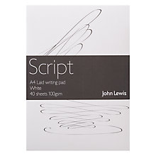 Buy John Lewis Script Laid A4 Writing Pad, White Online at johnlewis.com