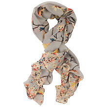 Buy Chesca Bird Print Scarf, Grey/Multi Online at johnlewis.com