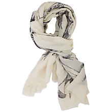 Buy Chesca Bird Print Scarf, Cream Online at johnlewis.com