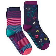 Buy White Stuff 2 Pack Woodland Scene Socks, Navy Online at johnlewis.com