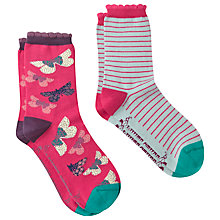 Buy White Stuff 2 Pack Butterfly Socks, Pink Online at johnlewis.com
