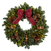 Buy Premium Christmas Trees Pine Cone & Cinnamon Sticks Fresh Wreath Online at johnlewis.com