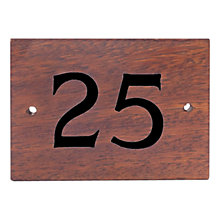 Buy The House Nameplate Company Personalised Iroko Wood House Number, 2 Digit, Black Online at johnlewis.com